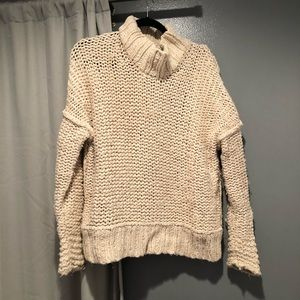 Free People Sand Chunky Knit Turtleneck Sweater M